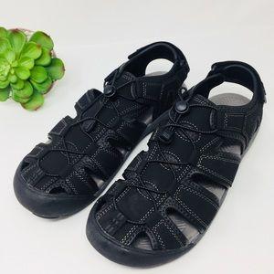 Khombu Mens Black Active Sandal Water Shoes